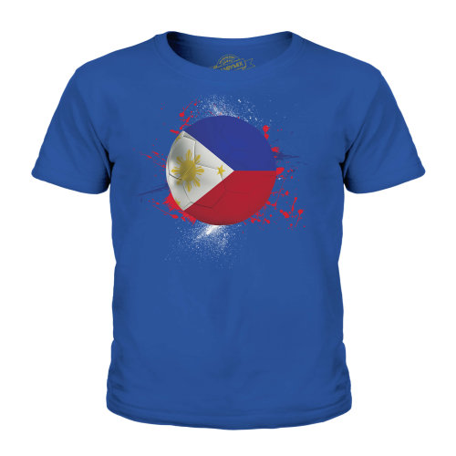 (Royal Blue, 3-4 Years) Candymix - Philippines Football - Unisex Kid's T-Shirt
