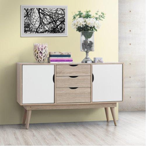 Alford Sideboard 2 Doors 3 Drawers Storage Cabinet Cupboard Oak White