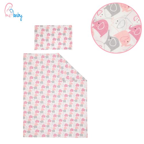 Girls 4 pcs Cot Bed Bedding Set / Duvet - Pink Grey Elephants
