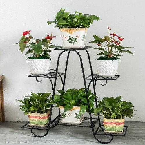 (Black) 6 Tier Metal Plant Stand Rack Garden Flower Display Shelf