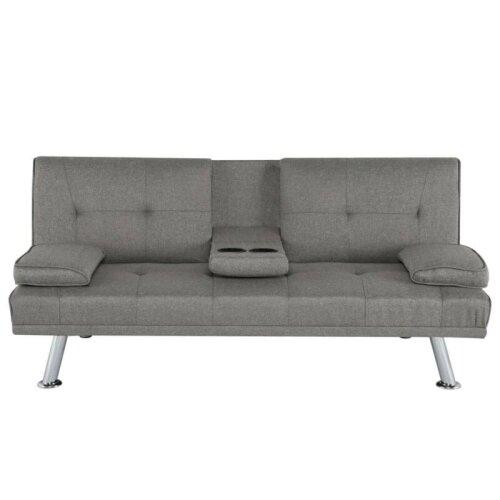 Grey 3-Seater Sofa Bed & Recliner