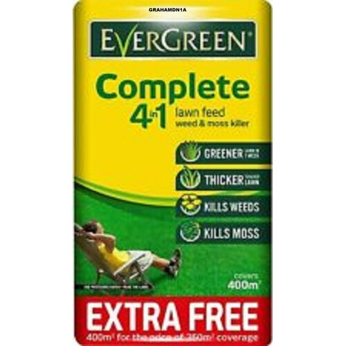 EverGreen Lawn Care Lawn Food Weed and Moss Killer Bag 400sqm Complete 4-in-1