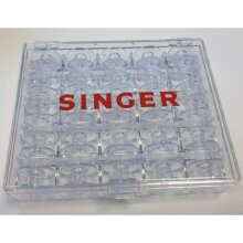 Singer Bobbin Storage Case with 25 Bobbins For Sewing Machine Clear Case Spools