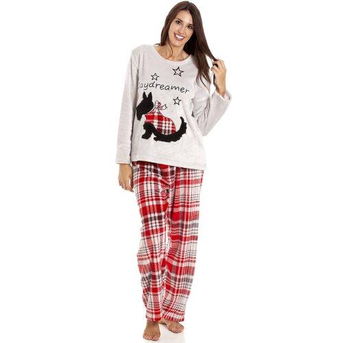 Camille Womens Supersoft Fleece Scotty Dog Pyjama Set