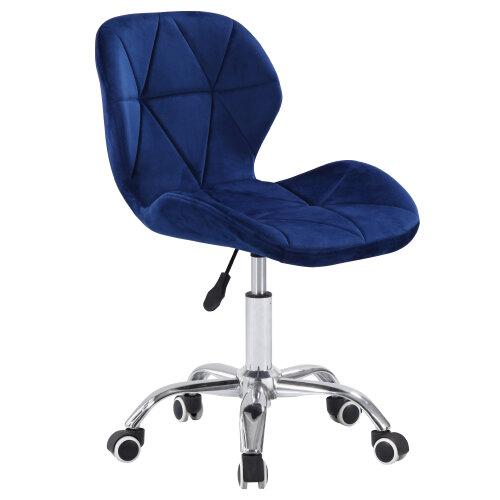 (Velvet Blue) Charles Jacobs Cushioned Swivel Office Chair