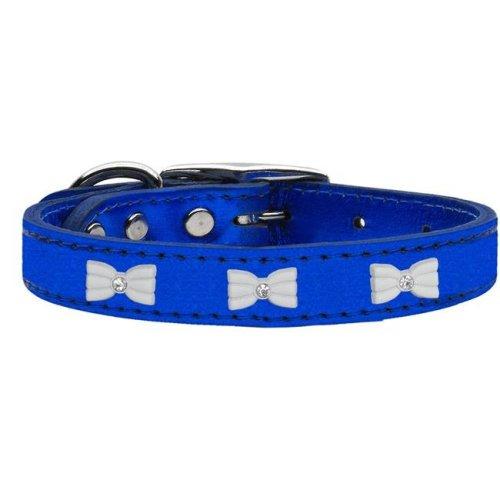 Mirage Pet 83-57 BLM12 White Bow Widget Genuine Metallic Leather Dog Collar, Blue - Size 12