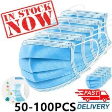 50-Pack Triple Layer Protective Masks 3ply Disposable Face Masks
