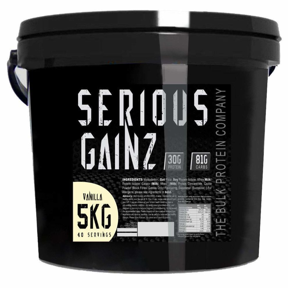 The Bulk Protein Company Serious Gainz Mass Gainer Powder, Vanilla, 5 kg
