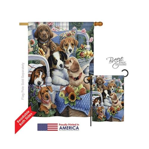 Breeze Decor 10050 Pets Country Pups 2-Sided Vertical Impression House Flag - 28 x 40 in.