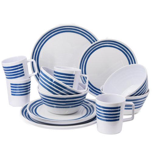 16 Piece Melamine Camping Caravan Picnic Outdoor Dining Dinner Plate Set