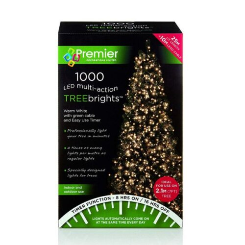 Premier Warm White 1000 LED TreeBrights Christmas Lights With Timer Function - 25m