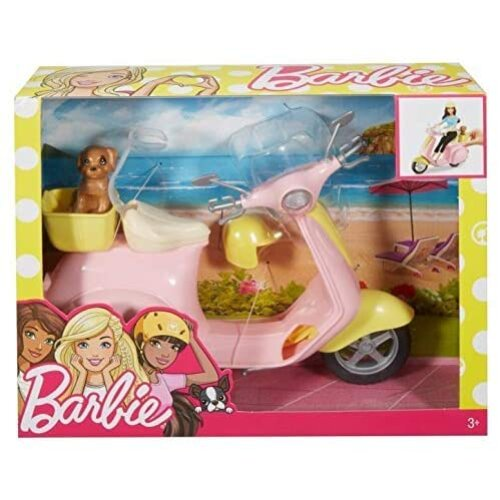 Barbie Moped, motorbike for doll, pink scooter with puppy and accessories