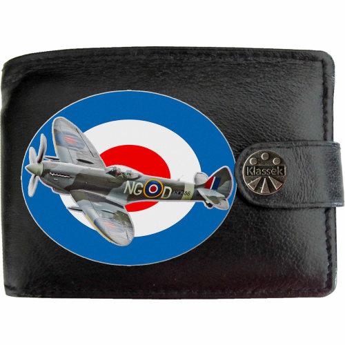 Spitfire Flying   RAF WW2 Mens Wallet Chain Leather Coin Pocket Klassek RFID Blocking Credit Card Slots and Metal Gift Box