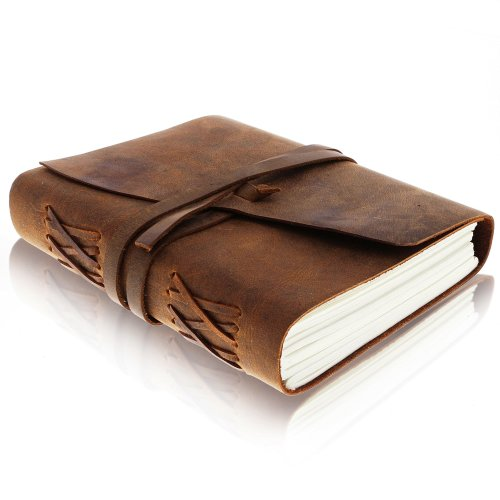 Leather Journal Writing Notebook - Antique Handmade Leather Bound Daily Notepad for Men & Women - Unlined Paper Medium 18x13cm - Perfect Gift for...