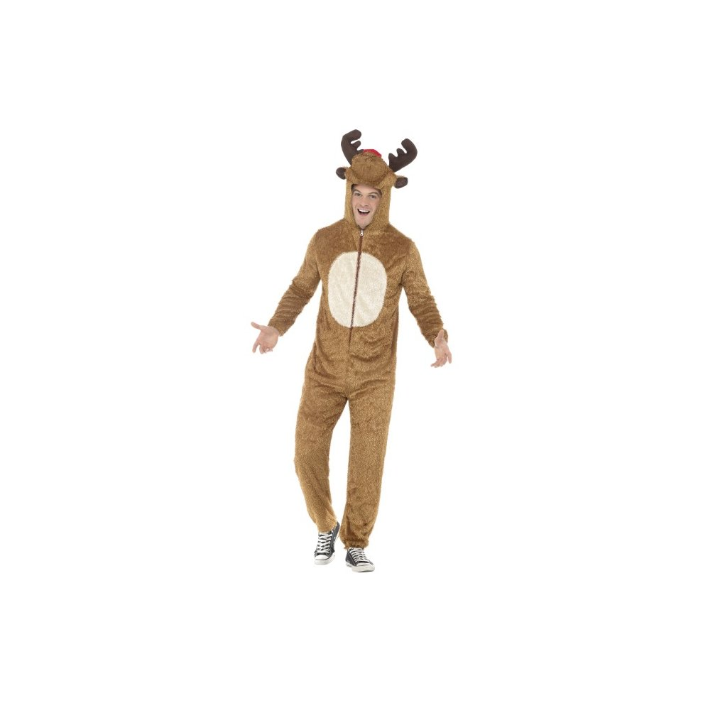 Adults Reindeer Costume Mens Ladies Rudolph Christmas Fancy Dress Xmas Outfit