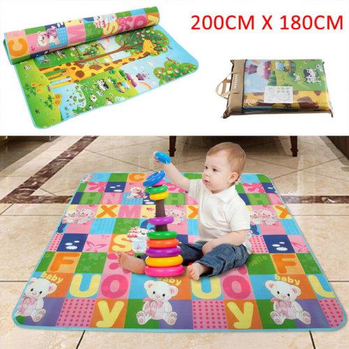 2 SIDE BABY PLAY MAT KIDS CRAWLING EDUCATIONAL SOFT BABY CARPET 200X180CM UK