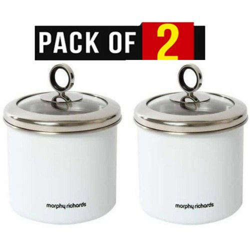 2 Morphy Richards Accents White Small Storage Canister With Glass Lid