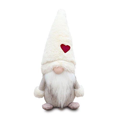 Amazlab Swedish christmas Santa gnome Plush Doll, Handmade Scandinavian Tomte Nordic Nisse Sockerbit Elf Dwarf Decoration, christmas Party gifts,White
