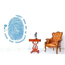 Dont Leave Your Fingerprints At The Crime Scene Wall Stickers Art Decals - Medium (Height 57cm x Width 46cm) Blue