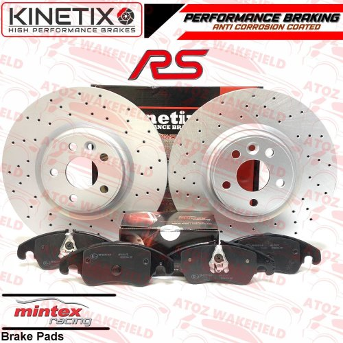 FORD FOCUS 2.5 RS RS500 MK2 FRONT DRILLED PERFORMANCE BRAKE DISCS RACING PADS