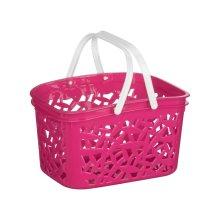 Storage Basket Hot Pink Plastic, White Handle, 2.4 Litre