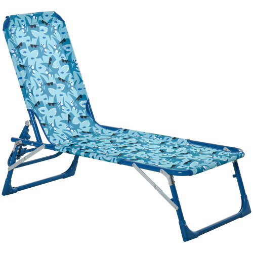 Outsunny Lounge Chair for Kids Foldable Adjustable 118 x 40 x 24cm Blue