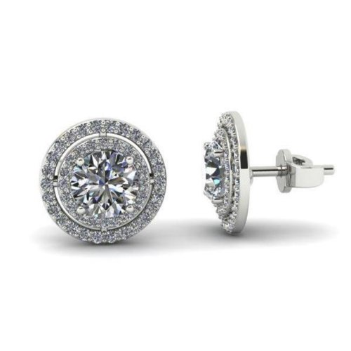 Harry Chad HC10049 5 CT 14K White Gold Round Cut Double Halo Diamond Stud Earring - Color G - VS2 & VVS1 Clarity