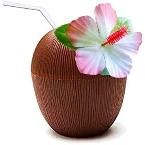 6pk Quickdraw Coconut Cups - 530ml | Hawaiian-Themed Plastic Cups