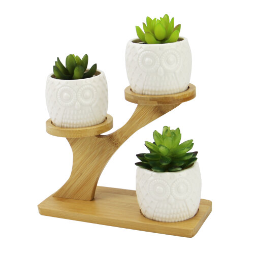 Owl Pots With Stand | M&W