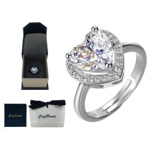 Craftuneed adjustable three prong heart shape faux diamond ring 925 silver
