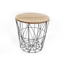 Round Geometric Wire Stool With Wooden Top   Wire Side Table