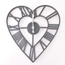 Heart Shaped Metal Wall Clock