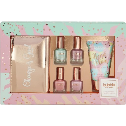 Style & Grace Bubble Boutique Mani -Care Set - 100ml Hand Lotion, 4 x 8ml Nail Polish and Coin Purse