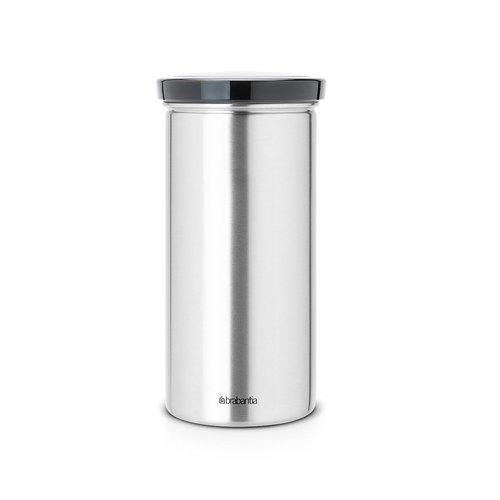 Brabantia Senseo Coffee Pad Storage Jar- Fingerprint Proof Matt Steel Black Lid