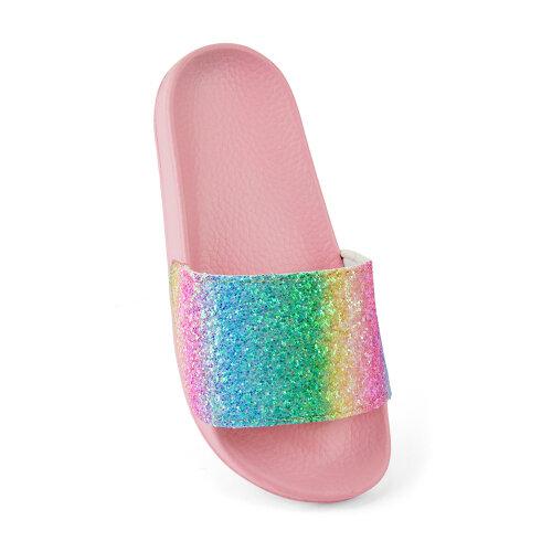 Childrens Girls Rainbow Glitter Sliders