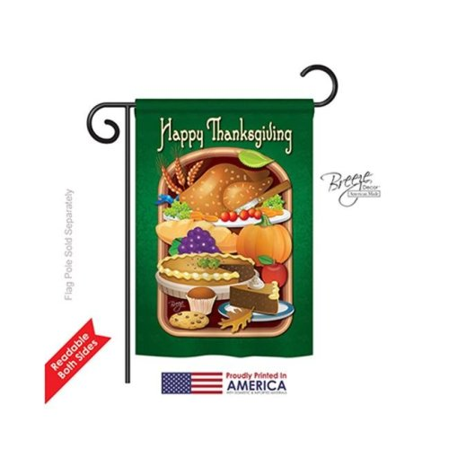 Breeze Decor 63039 Thanksgiving Thanksgiving Feast 2-Sided Impression Garden Flag - 13 x 18.5 in.