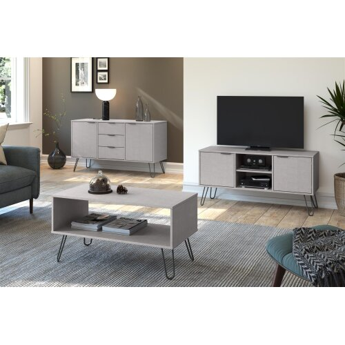 Grey Rectangle Coffee Occasional Living Room Table With Open Shelf Storage