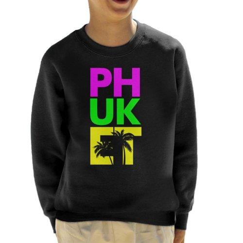 (Medium (7-8 yrs)) Phuket Retro Colour Text Kid's Sweatshirt