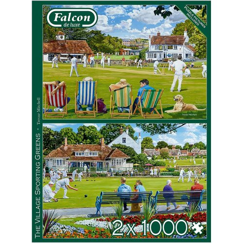 Falcon Deluxe The Village Sporting Greens Jigsaw Puzzle (2 x 1000 Pieces)