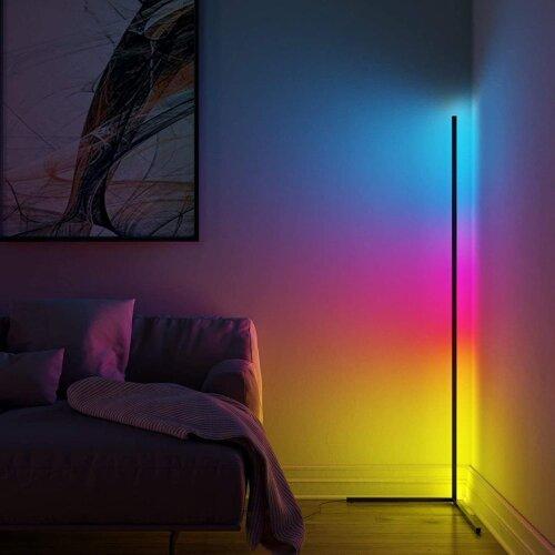 Modern Black Minimalist LED Corner Floor Lamp RGB Colour with Remote