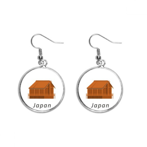 Traditional Japanese Edo Housing Ear Dangle Silver Drop Earring Jewelry Woman