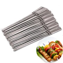 15pcs Reusable flat stainless steel barbecue skewers bbq Needle stick