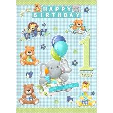 """Baby Boys 1st Birthday Greeting Card 8""""x5.5"""""""