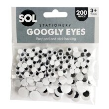 600pk Self Adhesive Googly Eyes | 3 x 200pk Large and Small Sticky Eyes