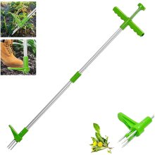 """Weed Puller Tool 39"""" Long Standing Root Remover with 3 Claws, Aluminum Alloy Garden Stand Up Manual Weeder Hand Tool"""