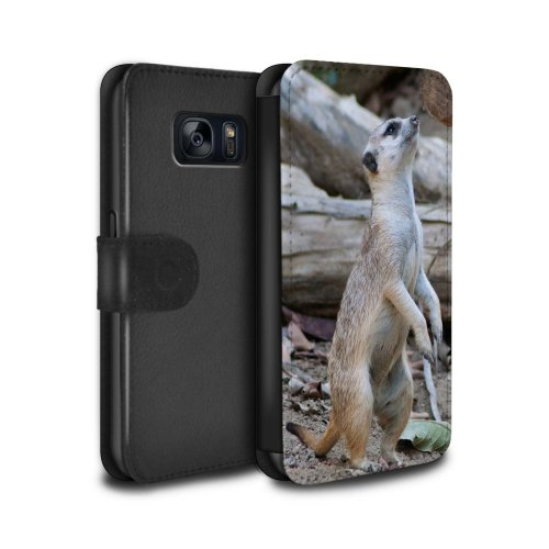 (Meerkat) Wildlife Animals Samsung Galaxy S7/G930 Phone Case Wallet Flip Faux PU Leather Cover for Samsung Galaxy S7/G930