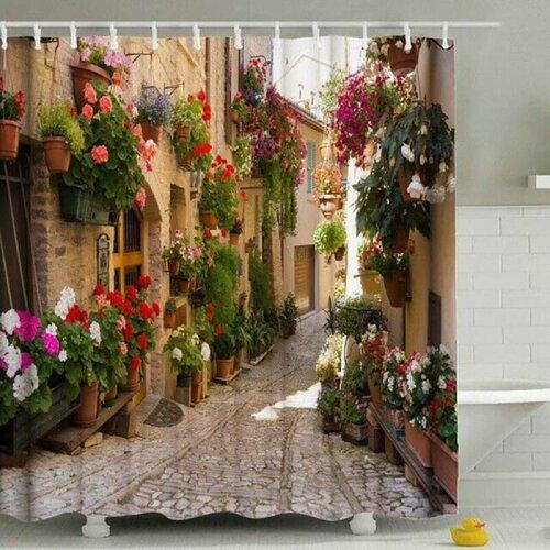 Shower Curtain Waterproof Nature Scene 3D Old Street Flower Bathroom Decor