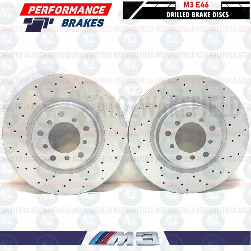 FOR BMW M3 E46 FRONT LEFT RIGHT DRILLED PERFORMANCE BRAKE DISCS SET 325mm COATED