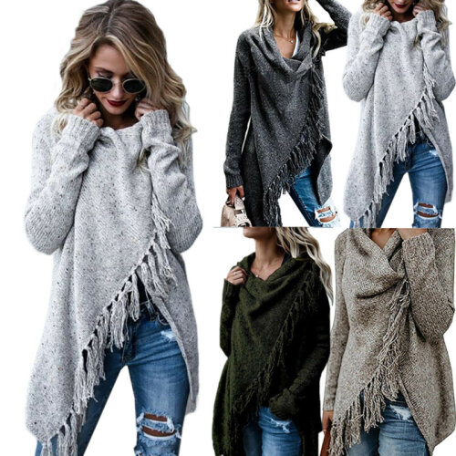 Womens Knitted Poncho Jumper Sweater Cardigan Tassel Fringe Shawl Tops Warm Coat