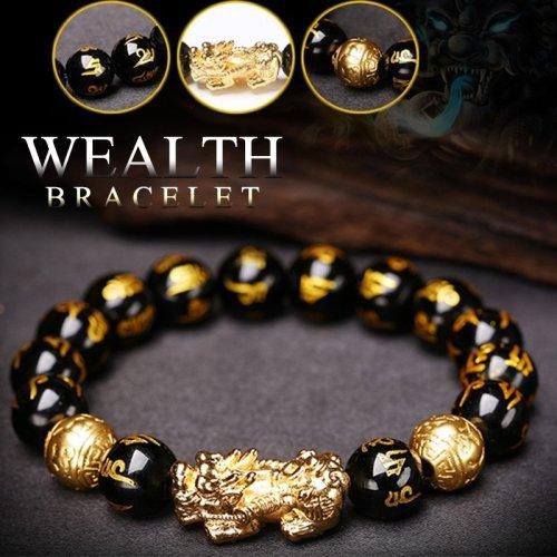 (14mm) Black Obsidian Wealth Bracelet The Best Gift